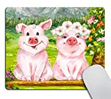Smooffly Mouse Pad Funny Pig Design Mousepad Non-Slip Rubber Gaming Mouse Pad Rectangle Mouse Pads 9.5 X 7.9 Inch (240mmX200mmX3mm)