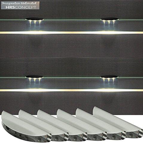 Glasbodenbeleuchtung LED Set / 2275WW / Glaskantenbeleuchtung/warm weiß/LED Clip/Vitrinenbeleuchtung / Glasplattenbeleuchtung/Möbelbeleuchtung (6-er Set)