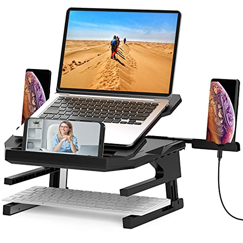 Herigu Laptop Stand,Ergonomic 20-Leves Angles Two-Layer Height Adjustable Laptop Stand,Portable Laptop Stand for Desk with 360 Rotating Base Foldable Computer Stand Fits All Laptops up to 15.6''