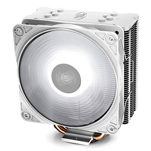 DEEP COOL GAMMAXX GTE V2 Bianco, Radiatore Aria CPU con 4 Tubi di Calore, Ventola PWM da 120 mm e LED Bianco per CPU Intel AMD