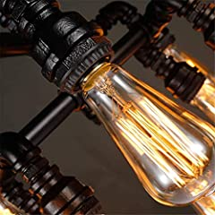 Chandelier Ceiling Light Steampunk Loft 13 Heads Black Wrought Iron Water Pipe Pendant Lighting E2720.4 Inch for Living Room Bar Restaurants Coffee Shop Club #4