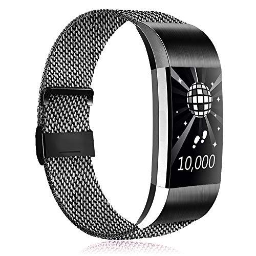 Amzpas Kompatible Für Fitbit Charge 2 Armband, Metall Magnetverschluss Edelstahl Ersatzarmband für Fitbit Charge 2 (03 Schwarz, S)