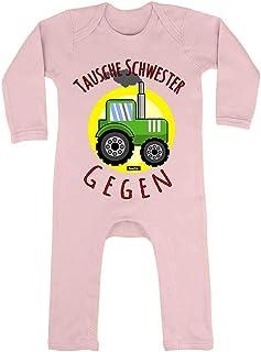 HARIZ HARIZ Baby Strampler Tausche Schwester Gegen Traktor Auto Polizei Plus Geschenkkarten Zuckerwatte Rosa 6-12 Monate