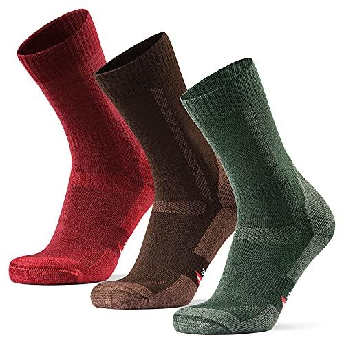 DANISH ENDURANCE Calcetines de Senderismo y Trekking de Lana Merina para Hombre, Mujer y Niños, Pack de 3 (Multicolor: Marrón, Verde, Rojo, EU 39-42)