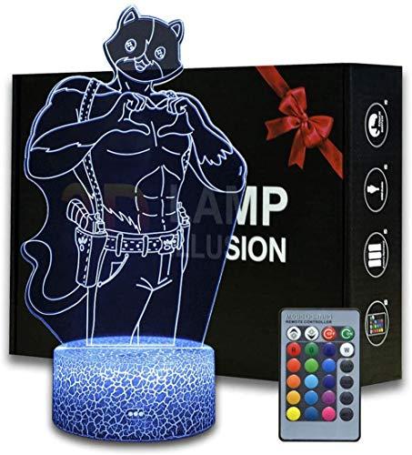 3D Ilusion Battle Royale Meowscles Luz de noche, lámpara de mesa con control remoto para dormitorio, lámpara de escritorio creativa para cumpleaños