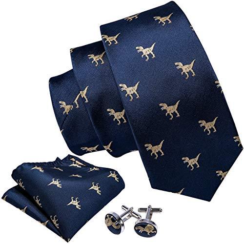 GPZFLGYN Dinosaurio dorado Corbatas de seda para hombre Caja de pañuelo Conjunto de regalos Corbatas para hombres Corbatas para el cuello del novio de la boda