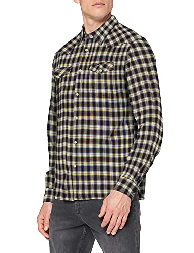 Wrangler LS Western Shirt Camisa, Azul Marino, S para Hombre