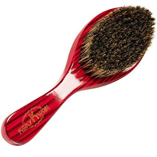 Medium Hard Curve Wave Brush for Men&Women 360 Waves Reinforced Natural Boar Bristles Hair Brush for Polishing&Laying Down Hair with Durag