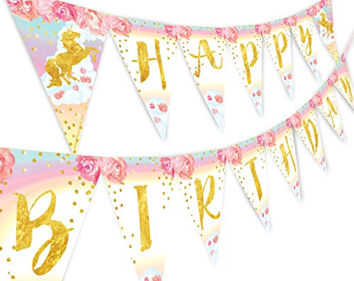 Unicorn Pastel Flower Happy Birthday Banner Pennant Rainbow Banner Flower
