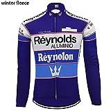 AJSJ Cyclisme Manches Longues Hiver Polaire et sans Polaire Hommes vêtements de Cyclisme Chauds et Minces MaillotVTT, Manches Longues, 4XL