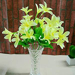 Silk Flower Arrangements Artificial and Dried Flower 10 Fork 30 Heads Artificial Narcissus Fake Flowers with Leaf Bouquet Faux Shrubs Plants Wedding Home Room Decor - ( Color: Yellow )