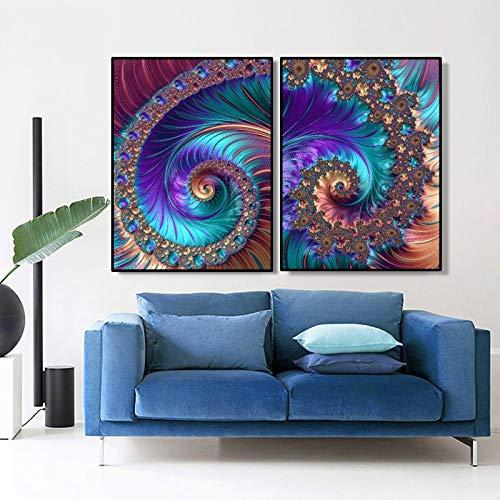 ganlanshu Kreativer Abstrakter Kunstpuddingöl-Fraktalmusterdruck auf Leinwandkünstlerhausdekoration,Rahmenlose Malerei,30X40cmx2