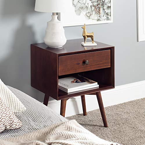 Walker Edison Mid Century Modern Wood Nightstand Side Bedroom Storage Drawer and Shelf Bedside End Table, 1, Walnut