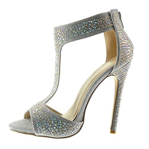 Angkorly - Damen Schuhe Sandalen Stiefeletten - T-Spange - Sexy - Stiletto - Strass - glänzende Stiletto high Heel 12.5 cm - Silber 981-Z20 T 39