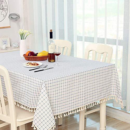 CICI Dot Plaid Tischdecke Dinner rechteckig ANTIDERAPANT Tischdecke Startseite Küchen-Dekor-Streifen Tischdecke Spitze Quaste,C,140 * 220cm