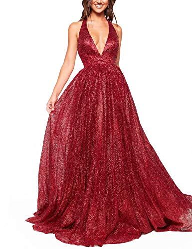 AiniDress Women's Sparkling Deep V-neck Prom Dresses Long Backless Tulle Formal Evening Gown