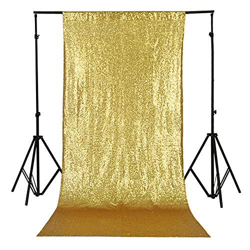 TRLYC 4Ft7Ft Sparkly Photo Booth Backdrop Gold Sequin Fabric Gold Wedding...