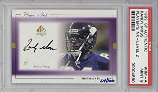 Randy Moss Signed Auto 1999 SP Authentic Players Ink Level 2 Card #RM-A PSA 9