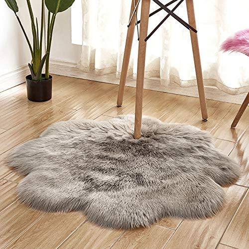 Alfombra de interior súper suave y gruesa para dormitorio, sala de estar, decoración de piso, color gris claro, 90 cm