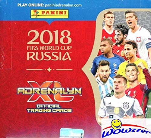 2018 Panini Adrenalyn World Cup Russia HUGE 24 Pack Factory Sealed Box with 144 Cards! Look for KYLIAN MBAPPE ROOKIE & Lionel Messi, Ronaldo, Neymar Jr, Salah, Kane & Many More! WOWZZER!