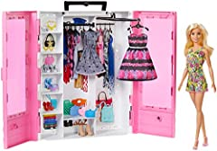 ​The Barbie Ultimate Closet doll and accessory playset has style inside and out with included clothing and accessories ​The pink closet is decorated with clear double doors for a glimpse into Barbie doll's wardrobe ​Shelf space stores and displays ac...