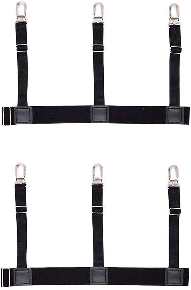Booluee 1 Pair Mens Shirt Stays Garters Shirt Holder Straps Elastic Adjustable Shirt Suspenders Non-slip Locking Clamps