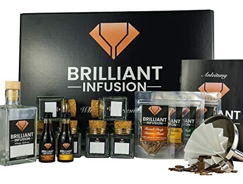 BRILLIANT INFUSION | 3 in 1 DIY Whisky-Tasting Probier-Set für Männer, Frauen und Freunde | Hochwertige Geschenk-Box | Whiskey-Geschmack Selber-machen | 4 Hölzer, 2 Essenzen & Zubehör | ohne Alkohol