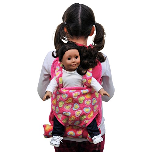 The Queen's Treasures Pink Baby Doll Backpack Carrier and Doll Sleeping Bag, Compatible for use with 15 and 18 Inch American Girl Dolls