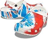 crocs unisex adult Men's and Women's Classic Tie Dye | Comfortable Slip on Casual Water Shoe Clog, Red/White/Blue, 13 Women 11 Men US