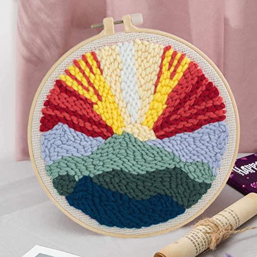 Kit de gancho para poner el sol, alfombra de paisaje, kit de bordado para hacer punto con aguja de punzón de hilo colorido, para niños principiantes