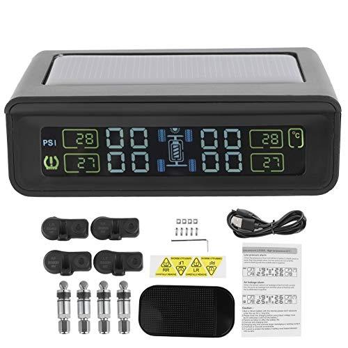 Akozon Sistema de monitoreo de presión de neumáticos de automóvil, Impermeable TPMS Monitor de presión de neumáticos inalámbrico Detector Probador con 4 sensores Pantalla LCD Carga Solar
