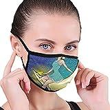 Ilustración vectorial de mujer bonita sentada en la Media Luna Tela Máscara de la Cara Máscaras Boca con Orejeras Anti Polvo Anti Haze Máscara a prueba de viento