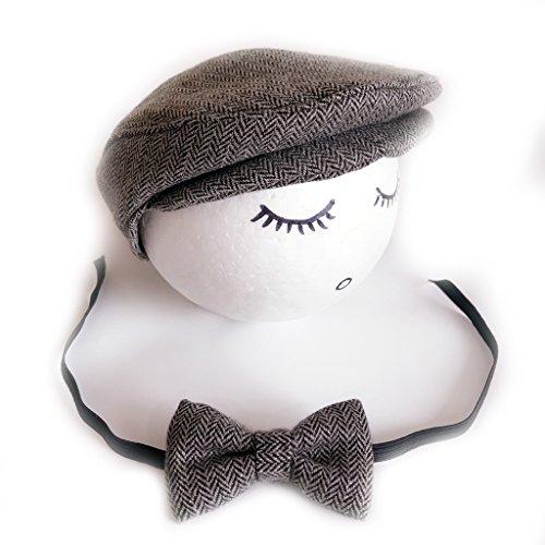 VIccoo Sombrero, Crochet Baby and Tie Hecho a Mano Fotografía Props Baby Cap Beanie - Gris Negro