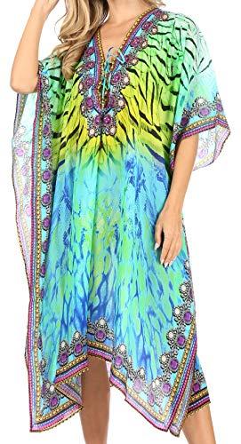 Sakkas SS1645 KF2503402A- Kristy Long Tall Lightweight Caftan Dress/Cover Up with V-Neck Jewels - Green Multi - OS