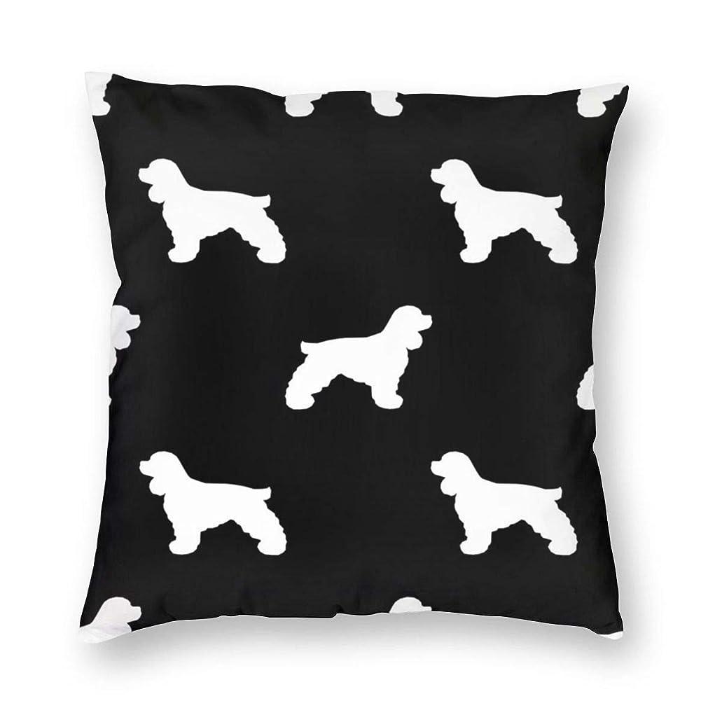 光沢割る健康的装飾的なスクエアスロー枕カバーコッカースパニエルシルエット生地犬の品種ブラック_933クッションケース用ソファ寝室車18 x 18インチ45 x 45 cm