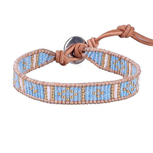 KELITCH Bohême Perles De Rocaille Fait Main Tressé Bracelets Manchette Cuir Wristband