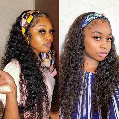 Headband Wigs Human Hair Deep Water Wave 10A Brazilian Remy Human Hair Gluess Full Head Extension Headband Wig 180% Density Natural Color VIVI BABI 24 Inch