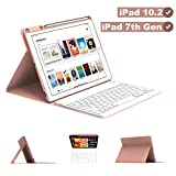 Maxfree iPad Keyboard Case 8th 7th Generation for iPad 10.2 2019, Magnetically Detachable Wireless/BT Auto Sleep Keyboard with Pencil Holder, Full Folio Cover for iPad 10.2 Inch, Rose Golden