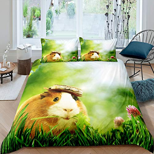 Lindo Juego de Cama de Conejillo de Indias 230x220cm para niñas niños Dibujos Animados Cavy edredón Cubierta Decorativa Encantadora Funda nórdica para Mascotas Animal 3 Piezas