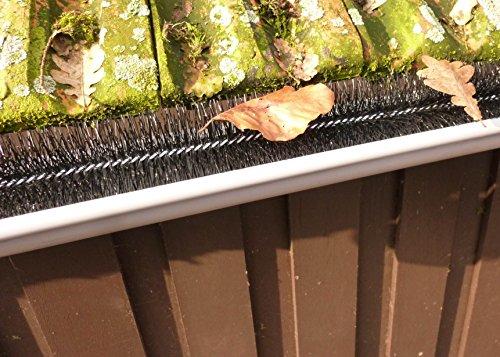 EXCOLO 1,2m Dachrinnenbürste Regenrinneraupe Rinnenbürste Rinnenigel Laubschutz Blätter Schutz Marder Dachrinne Bürste Ø 5 cm