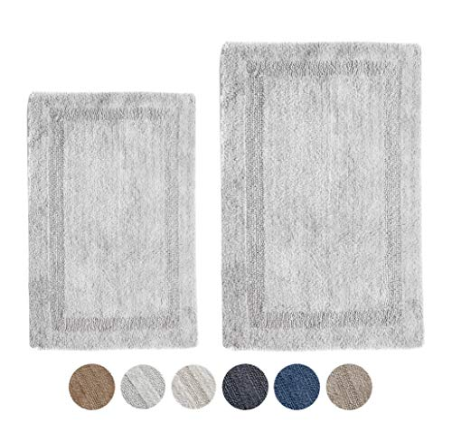 Woven St Reversible Tufted Luxury Cotton 2 Piece Bath Rugs Set for Spa Vanity Shower Super Soft Machine Washable for Bathroom/Kitchen Water Absorbent Bedroom Area Rugs (17'x24' + 21'x34')- Light Grey