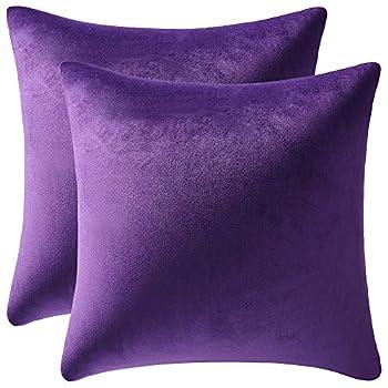 DEZENE 18x18 Throw Pillow Cases Purple  2 Pack Cozy Soft Velvet Square Decorative Pillow Covers for Farmhouse Home Decor