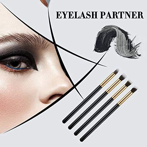 4pcs / set pinceaux pour les yeux professionnels ensemble fard à paupières Fondation mascara mélange pinceau crayon outil de maquillage cosmétique noir vente populaire - or et noir