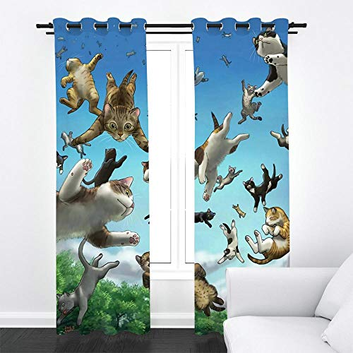 ZLQBed Schlafzimmer Vorhang Blickdicht mit Ösen Sky Cat Vorhänge Blickdichte Thermo Gardinen 3D Verdunkelungsvorhang für Schlafzimmer Wohnzimmer Kinderzimmer, 2 Stück, 140x160cm