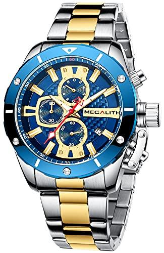 MEGALITH Reloj Hombre Acero Inoxidable Relojes Analogico Cronografo Reloj de Pulsera Hombre Esfera Grande Impermeable Cuarzo Negocios Fecha Luminosa
