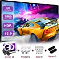 Projector Screen with 3D Glasses,ZTASEMI 120 Inch Lightfast Thickened Portable Projector Screen,16:9 Foldable Anti Crease Movie Double Sided Projection Screen for Party/Home Theater-with Hook Ropes