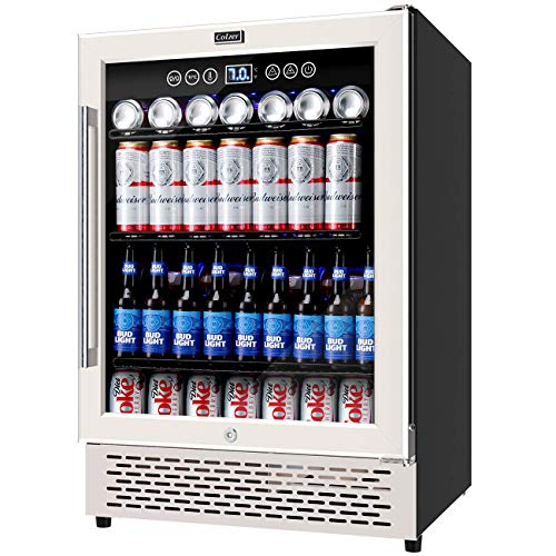 COLZER 24 Inch Beverage Refrigerator, 180 Cans of High-Capacity, Freestanding/Built-in Counter Wine Cooler Advanced Cooling Compressor for Soda, Water, Beer and Wine, Drink Fridge for Home/Bar/Office