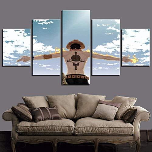 bnkrtopsu 5 Panel Wandkunst Leinwandbild Wohnzimmer Schlafzimmer kreative dekorative Wandbilder und Poster Cartoon Anime One Piece Charaktere Bilder