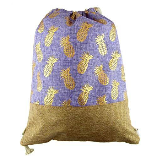 Bolsa Mochila Saco de Cuerdas Casual Estampado en piñas Doradas para Gimnasio, Playa, Estilo Bohemio Hippie, Gymsack, Daypack Deportes. (Lila)