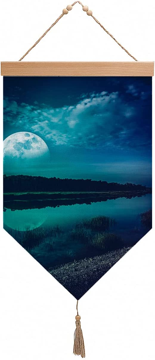 4 years warranty Night Sky Moon Nature Hanging And Decor Supe Flag Save money Wall
